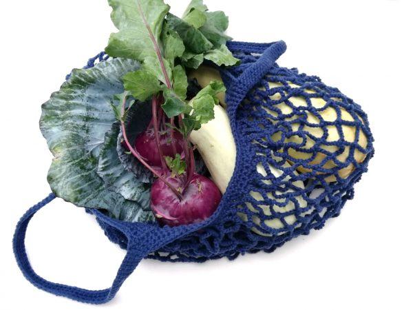 Farmerkék cekker, hálós bevásárló táska, zerowaste zöldséges szatyor