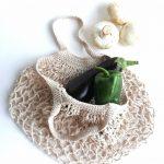 Natúr cekker, hálós bevásárló táska, zerowaste zöldséges szatyor