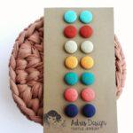 Mini vagy Micro textil fülbevaló csomag, Lágy ősz színskála – 7 pár