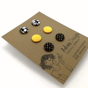 Micro textil fülbevaló csomag vidám színekben – 3 pár