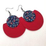 Sötétkék apró virágos Félhold Extra – variálható textilfülbevaló
