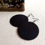 Egyszínű fekete Maxi textilfülbevaló