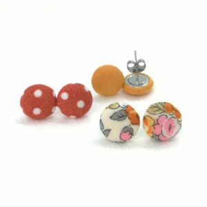 Micro textil fülbevaló csomag meleg színekben – 3 pár