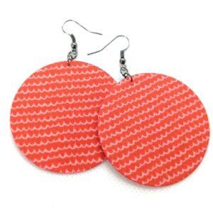 Hullám mintás korall fülbevaló – Maxi textilfülbevaló