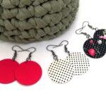 Hármas Midi textilfülbevaló csomag – Pöttyös fekete rózsás, pink, fehér alapon tűpettyes, 3 pár