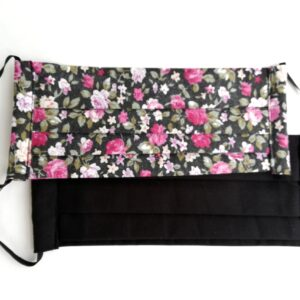 Szájmaszk csomag, kétrétegű, egyszínű fekete és sötét alapon rózsás, 2 db