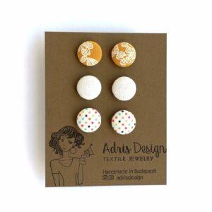 MINI textil fülbevaló csomag – 3 pár – mustársárga, törtfehér, színes pöttyös