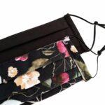 Kétrétegű textilmaszkok, fekete egyszínű és elegáns rózsás, 2 db/csomag