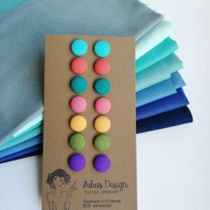 Meleg tavasz színskála 7 pár Mini vagy Micro textilfülbevaló