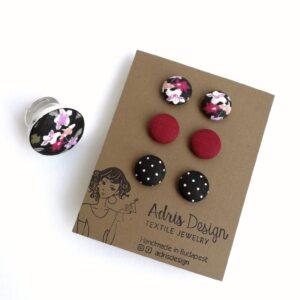Mix&Match rózsás textilékszer szett 3 pár Mini fülbevaló gyűrűvel