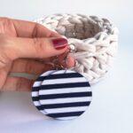 Sötétkék-fehér tengerész csíkos MAXI textilfülbevaló