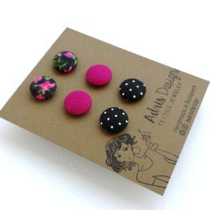 MINI textil fülbevaló csomag – 3 pár – Pink virágos, egyszínű mély pink és fekete pöttyös