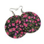 Fekete alapon pink virágos és egyszínű mély pink Maxi textilékszerek 2 pár