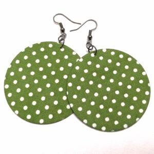 Leveli béka zöld alapon fehér pöttyös Maxi textilfülbevaló