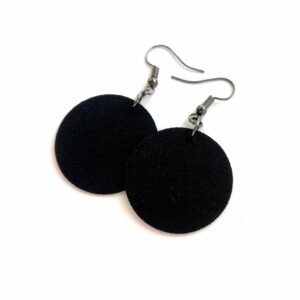 Egyszínű fekete Midi textilfülbevaló