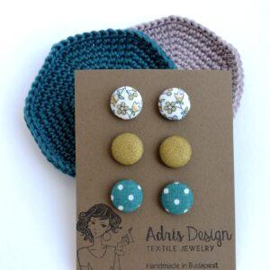 MINI textil fülbevaló csomag, 3 pár – fehér alapon virágmintás, egyszínű óarany és türkiz alapon pöttyös