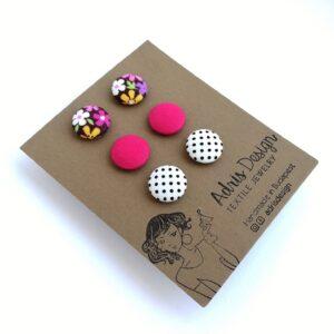 MINI textil fülbevaló csomag, 3 pár – Színes virágos, pink, fehér alapon pöttyös