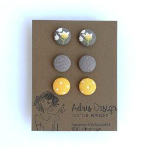 MINI textil fülbevaló csomag, 3 pár – szürke tulipános, kőszürke és sárga pöttyös