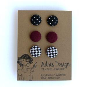 MINI textil fülbevaló csomag, 3 pár – fekete alapon pöttyös, padlizsán, tyúkláb mintás
