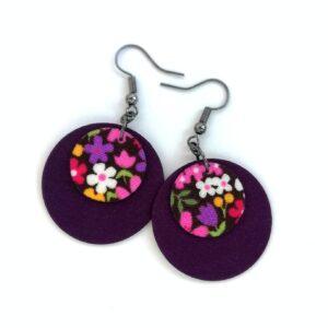 Lila csupa virágos Dupla Midi textilfülbevaló