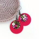 Pink csupa virágos Dupla Midi textilfülbevaló