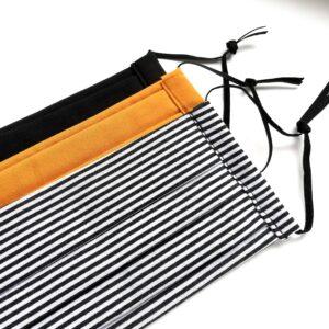 Fekete, csíkos, mustársárga kétrétegű textilmaszkok 3 db
