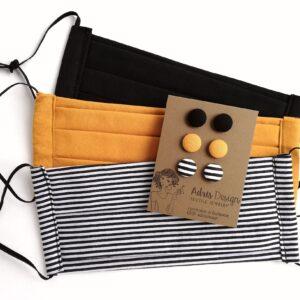 Fekete, csíkos, mustársárga kétrétegű szájmaszkok 3 db + MINI textilékszer szett egységcsomag