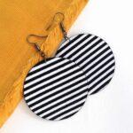 Fekete-fehér csíkos MAXI textilfülbevaló