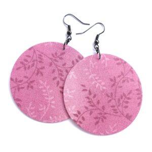 Rózsaszín növényi mintás MAXI textilfülbevaló