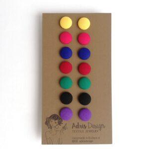 Textil fülbevaló csomag Mini vagy Micro méretben, Élénk tél színskála – 7 pár