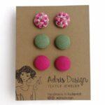 MINI textil fülbevaló csomag, 3 pár – Lila apró virágos, egyszínű hideg zöld és sötét pink