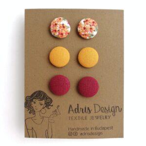 MINI textil fülbevaló csomag, 3 pár – apró virágos, mustársárga, bordó