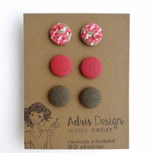 Textilfülbevaló csomag Mini vagy Micro méretben, 3 pár – Pirosas apró virágos, rókavörös, keki