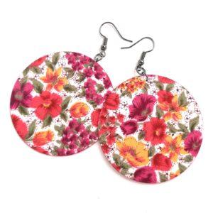 Színes virágmintás tavaszi Maxi textilfülbevaló