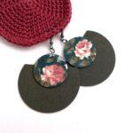 Keki és kékeszöld-barack rózsás Félhold Extra textilfülbevaló