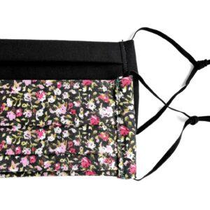 Fekete alapon apró virágos és egyszínű fekete textilmaszkok, 2 db/csomag