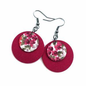 Sötét pink lila virágokkal Dupla Midi textilfülbevaló