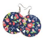 Királykék-korall virágmintás Maxi textilfülbevaló