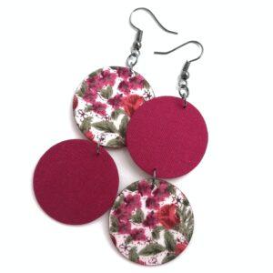 Lila virágos felemás textilfülbevaló – Bohókás sorozat