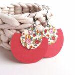 Rózsaszín és sárga rózsás Félhold Extra textilfülbevaló