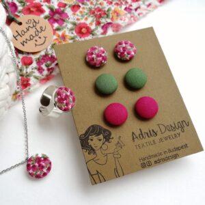 Színes virágos ékszerszett Mini vagy Micro fülbevaló, nyaklánc és gyűrű – lila