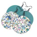Finom virágmintás és egyszínű Balatonkék Maxi textilékszer 2 pár