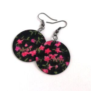 Fekete alapon pink virágos Midi textilékszer