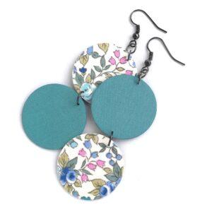 Kék virágos és Balatonkék felemás textilfülbevaló – Bohókás sorozat