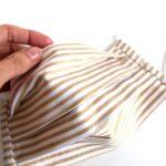 Mustársárga, keki, bézs-fehér csíkos kétrétegű textilmaszkok 3 db