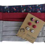 Textilfülbevaló csomag Micro vagy Mini 3 pár- népies kék virágos, bordó, fekete-fehér csíkos