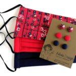 Micro textilfülbevaló csomag 3 pár- népies piros virágos, piros, sötétkék