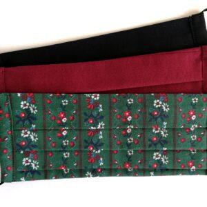 Népies sötétzöld virágmintás, bordó, fekete kétrétegű textilmaszkok 3 db