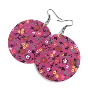 Sötét rózsaszín virágmintás Maxi textilfülbevaló