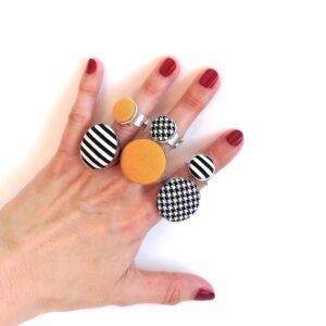 Választható gyűrű – csíkos, mustársárga, tyúklábmintás